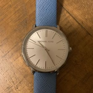 Michael Kors Silver & Baby Blue Wrist Watch